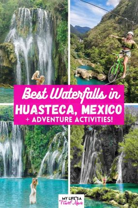 Hidden gem alert! There's a place called Huasteca in Mexico that is a waterfall heaven! Surrounded by lush jungle and tranquil atmospheres, you can visit five or more waterfalls in Huasteca, plus do tons of adrenaline pumping adventures like ziplining, rappelling, rafting, and even riding a bike on a zipline! Save this post if you plan on visiting Mexico in the future, and want to go somewhere off the touristy beaten path! #mexico #huasteca #waterfalls