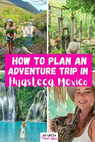 Huasteca, Mexico is a hidden gem of an adventure destination that you absolutely must plan a trip to! It's a lot easier to plan a trip to Huasteca, especially with my ultimate travel guide! It explains how to get there, how to rent a car, where to stay, how to book the best tours, and important information about safety, language, and wild life! Save it for later if you plan on visiting Mexico and want something different than the typical tourist towns! #mexico #travel2021 #summertravel #waterfalls #huasteca