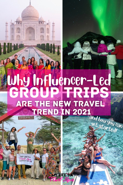 Influencer-led group trips are the hottest new travel trend in 2021, especially for solo travelers! No wyou can re-create your favorite influencer's adventures, and even do it with them! Read why more and more people are opting for influencer-hosted group trips, and what the original trailblazer, Alyssa Ramos has to say about them! Plus find out how you can learn how to plan and host your own group trip!